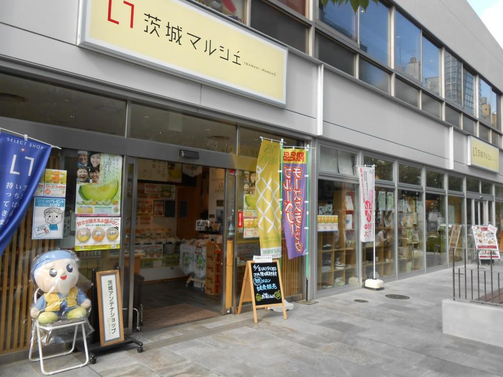 対面は「茨城マルシェ」。つくば人としては行かねば!干し芋がいっぱい売ってたよ。